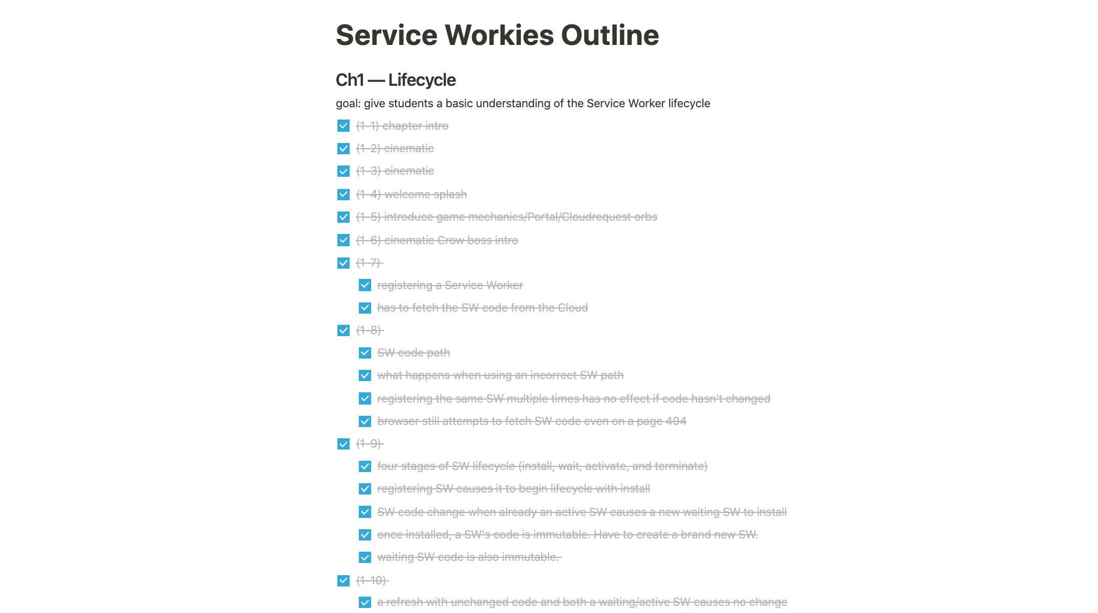 Service Workies Outline